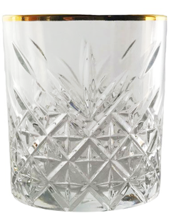 Crystal Look Whisky Glas + Gouden Rand
