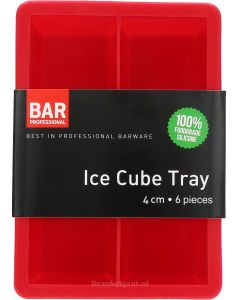 Ice Cube Tray 4 cm 6 pieces Rood