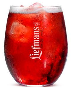 Liefmans fruitbierglas on the rocks